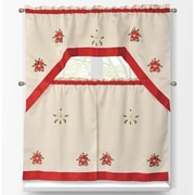 Window Elements 3 Piece Holiday Embroidered Sheer Kitchen Tier Set; Poinsettia