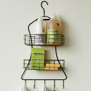 Creative Co-Op Casual Country Dress Shaped Wall Mounted Rack w/ 2 Wire Shelves and 5 Hook