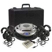 Ergoguys Califone® Spirit™ SD 1886PLC-6 Boomboxes with 6 Headphones, Black/Silver
