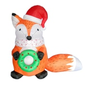 BZB Goods Christmas Inflatable Fox w/ Christmas Hat and Wreath