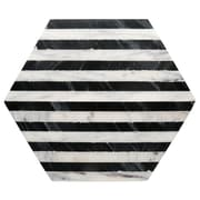 Thirstystone Old Hollywood Striped Marble Hexagon Trivet