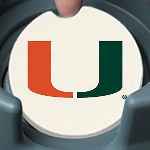 CounterArt NCAA Car Coaster (Set of 2); Miami Hurricanes WYF078279303963