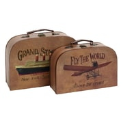 Cole & Grey 2 Piece Wood/Faux Leather Trunk Set