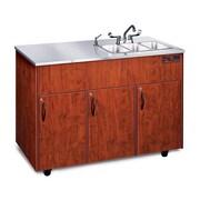 Silver Advantage 48'' x 24'' Triple Bowl Portable Handwash Station w/ Storage Cabinet