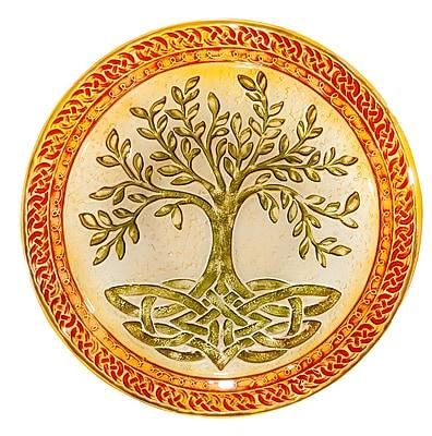 Evergreen Enterprises, Inc Tree of Life 18'' Glass Birdbath WYF078279295055