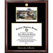 NCAA University of Florida Gold Embossed Diploma w/ Campus Images Lithograph Picture Frame