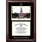 NCAA University of North Texas Gold Embossed Diploma w/ Campus Images Lithograph Picture Frame