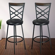 eHemco Adjustable Height Swivel Bar Stool w/ Cushion (Set of 2)
