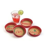 TAG 4 Piece Holiday Cheer Jar Lid Coaster Set