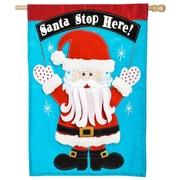 Evergreen Enterprises, Inc Santa Stop Here House Applique Flag Decor