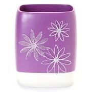 Popular Bath Products Daisy Stitch Plastic Trash Can; Purple
