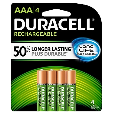 Duracell® AAA Precharged Rechargeable Batteries, 4/Pack