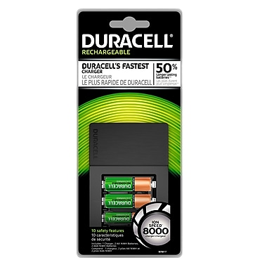 duracell battery charger ion speed 8000 with 2 aa and 2 aaa rechargeable batteries staples. Black Bedroom Furniture Sets. Home Design Ideas
