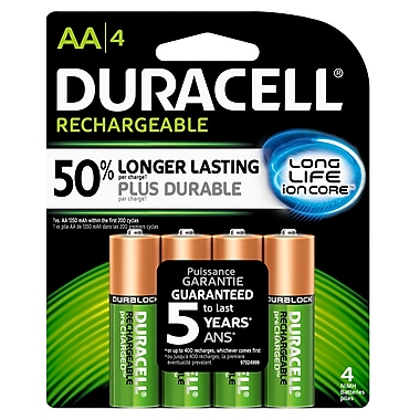 Duracell® AA Precharged Rechargeable Batteries, 4/Pack