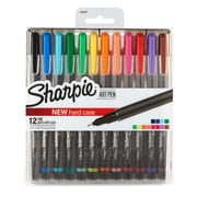 Sharpie Art Pens, Fine Point, Assorted Colors, Hard Case, 12 Pack