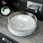 A&E Bath and Shower Meli Round Polymer Bathroom Basin Vessel Sink; White