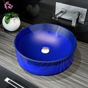A&E Bath and Shower Meli Round Polymer Bathroom Basin Vessel Sink; Blue