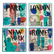 Home Essentials and Beyond 4 Piece Square Fun Cities Coaster Set