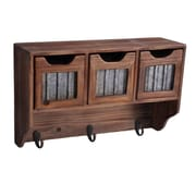 Cheungs Wooden 3 Hook and 3 Top Drawers w/ Accent Wall Mounted Coat Rack