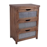 Cheungs Wooden 3 Drawer w/ Galvanized Accent Chest