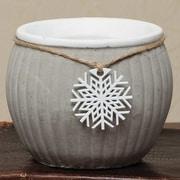 ZiaBella Stone Ribbed Snowflake Decorative Bowl; 4.5'' x 4.5'' x 4.5''