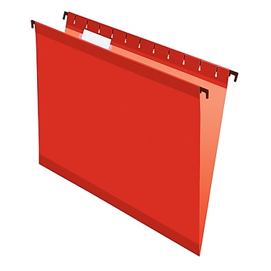 Pendaflex® SureHook® Reinforced Hanging File Folders, 5 Tab Positions, Letter Size, Red, 20/Box (6152 1/5 RED)