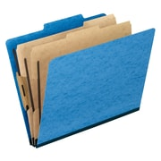 Pendaflex® Six-Section Colored PressGuard Classification Folders, Light Blue, 10/Box