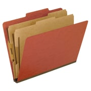 Pendaflex® Six-Section Colored PressGuard Classification Folders, Letter Size, Red, 10/Box