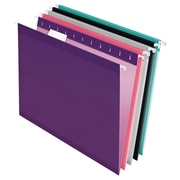 Pendaflex® Reinforced Hanging File Folders, 5 Tab Positions, Letter Size, Assorted Jewel-Tone Colors, 25/Box (4152 1/5 ASST2)