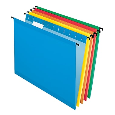 Pendaflex® SureHook® Reinforced Hanging File Folders, 5 Tab Positions, Letter Size, Assorted Colors, 20/Box (6152 1/5 ASST)