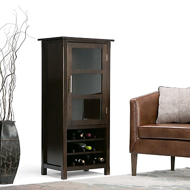 Simpli Home Avalon Wooden High Storage Wine Rack Cabinet, Dark Tobacco Brown