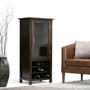 Simpli Home Avalon Wooden High Storage Wine Rack Cabinet, Dark Tobacco Brown