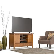 Simpli Home Warm Shaker Wooden TV Stand, Honey Brown