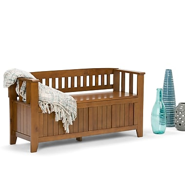Simpli Home Acadian Soild Wood Entryway Storage Bench, Light Avalon Brown