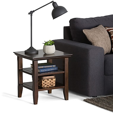 Simpli Home Acadian Wood/Veneer End Table, Brown, Each (AXWELL3003)