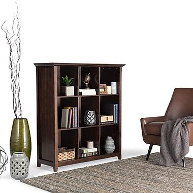 Simpli Home Acadian 9 Cube Storage Bookcase, Dark Tobacco Brown