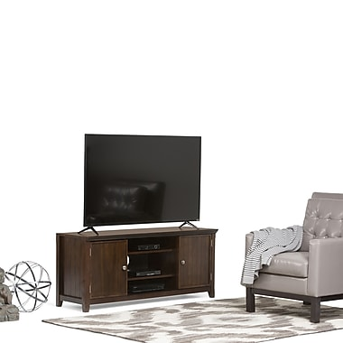 Simpli Home Acadian Wooden TV Stand, Dark Espresso