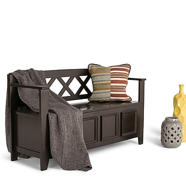 Simpli Home Amherst Soild Wood Entryway Storage Bench, Dark American Brown