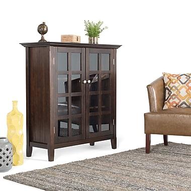 Simpli Home Acadian Wooden Medium Storage Cabinet and Buffet, Dark Tobacco Brown
