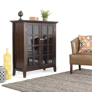 Simpli Home Acadian Wooden Medium Storage Cabinet and Buffet, Dark Tobacco Brown