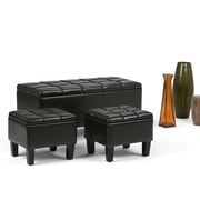 Simpli Home Dover 3 Piece Faux Leather Storage Ottoman, Brown