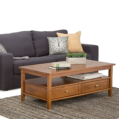 Simpli Home Warm Shaker Wood Coffee Table, Brown, Each (AXWSH001)