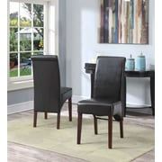 Simpli Home Avalon Faux Leather Deluxe Parsons Chair, Brown, 2/Set