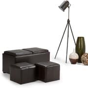 Simpli Home Avalon 3 Piece Faux Leather Storage Ottoman, Brown