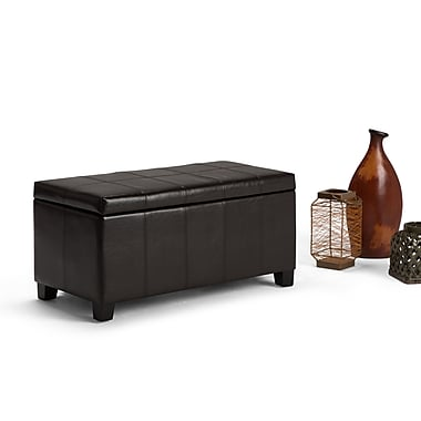 Simpli Home Dover Faux Leather Storage Ottoman, Brown