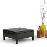 Simpli Home Dover Faux Leather Coffee Table Storage Ottoman, Brown