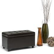 Simpli Home Cosmopolitan Medium Faux Leather Storage Ottoman, Brown
