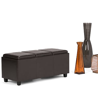 Simpli Home Avalon Extra Large Faux Leather Storage Ottoman, Brown