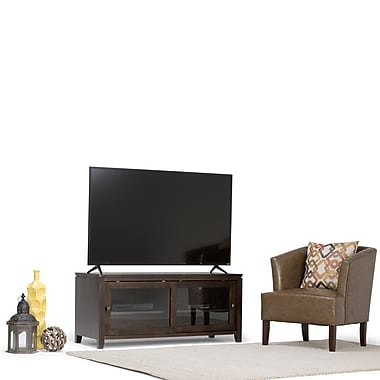 Simpli Home Cosmopolitan Wooden TV Stand, Coffee Brown