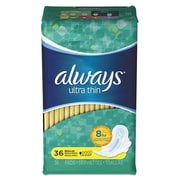 Always® Ultra Thin Pads with Wings, Regular, 36/Pack (30656PK)